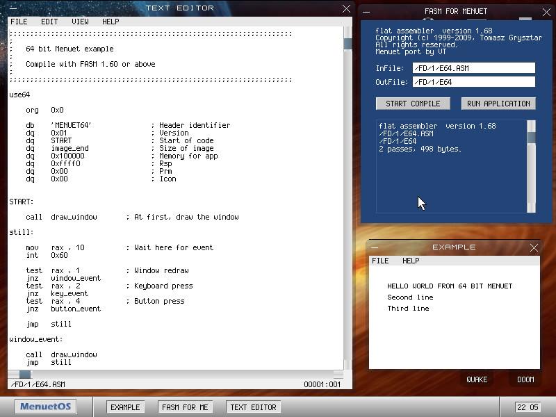 MenuetOS:n mukana tulee FASM-konekielikääntäjä ja muutama esimerkkiohjelma lähdekoodeineen.